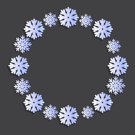 Snowflake papercut wreath vector illustration. Template for text, banner, greeting card, black friday, poster. Round, paper, cover.