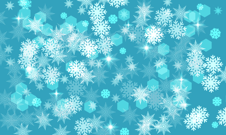 Winter blue background, abstract white snowflakes and stars. Banner, wallpaper, sale. Frozen, cold, winter, New Year, Christmas, sale.