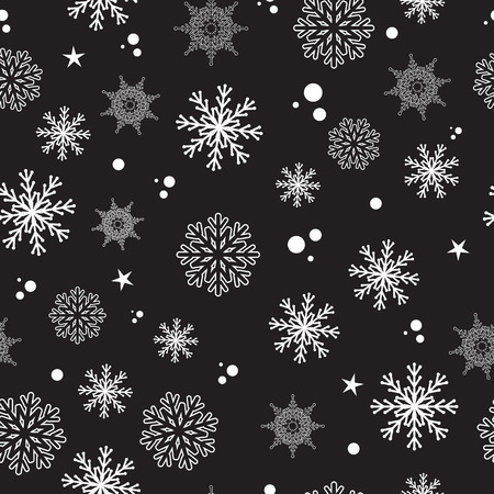 Vector seamless pattern, snow, snowflakes illustration. White and black, monochrome. Wallpaper, paper, textile, fabric, design, banner. Snow, winter, ice, january, december, february. New year, Christmas.