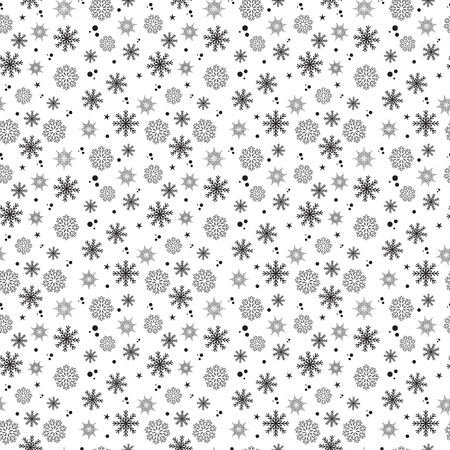 Black snowflakes seamless pattern on white background. Vector illustration. Paper, fabric, textile, banner. Winter, January, December, February. New year, Christmas. Monochrome.
