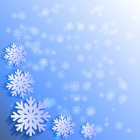 Abctract winter background, white papercut snowflakes on blue background. Template for text, sale, greeting card, poster. New yaer, Christmas, snow, cold, december, january, february.