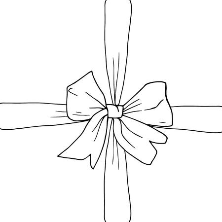 Hand drawn bow, ribbon sketch vector illustration. Gift box, present, surprise. Black and white. Illusztráció