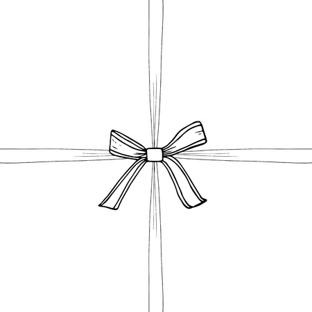 Ribbon and bow sketch, hand drawn illustration, vector. Box, surprise, present, gift.