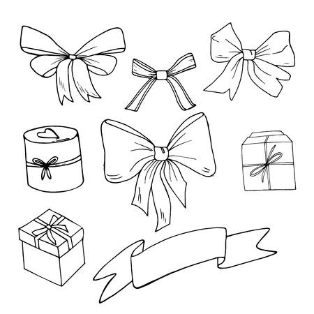Bow sketch set, vector illustration. Hand drawn. Box, ribbon, present, gift. Birthday, valentine day, new year, celebration.