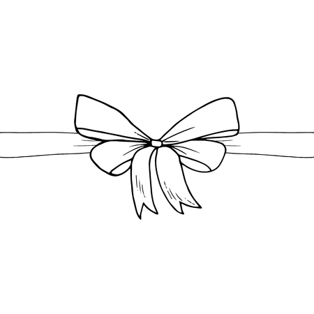 Ribbon and bow sketch vector illustration, hand drawn. Present, gift, open, surprise, event, greeting.
