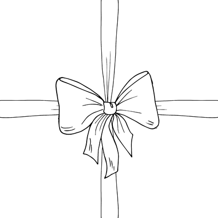 Bow, ribbon sketch, vector illustration. Monochrome, black and white. Gift, box, banner, present, sale, celebration, valentines day, birthday, wedding, Christmas, new year, surprise, knot.