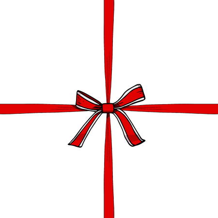 Red and white bow with ribbon vector illustration, hand drawn. Present, gift, surprise. Closed, new, packed. Sale, prize. Banner, template.