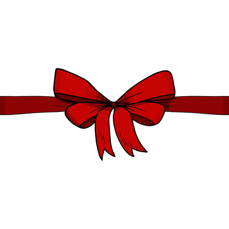 Horizontal red ribbon and bow vector illustration. Sketch, hand drawn. Present, gift, box, surprise. Banner, template, card.