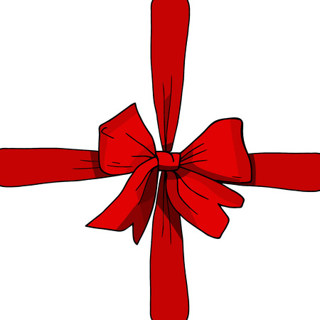 Red ribbon and bow vector illustration, present, gift, surprise concept. Sketch, hand drawn, colorful. Vallentines day, new year, Christmas, birthday, black friday, sale. Banner shopping, celebration.