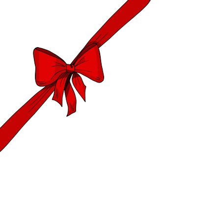 Diagonal red ribbon and bow vector illustration. Present, gift, box, pack, surprise, celebration.  Anniversary, birthday, valentine's day, new year, Christmas, party.