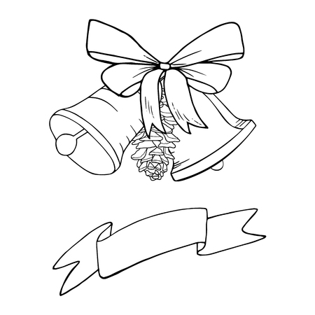 Bells with pinecone and bow Christmas decoration  sketch. Hand drawn vector illustration. Black and white doodle. Winter, new year celebration.