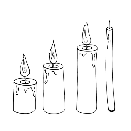 Candles sketch vector black and white illustration. Fire, light. Hand drawn. Cosy, romantic, celebration, traditional, decoration. Christmas, Valentine's day, wedding. Greeting card, banner, template.