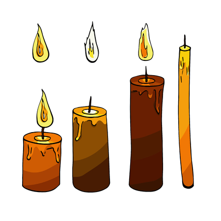 Colorful candle and fire sketch on white background. Orange, beige, purple, brown. Candlelight, light, shine.  Isolated elements.