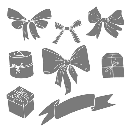 Grey gift boxes and bows siluhettes on white background. Icon, sign, present, gift, surprise,    birthday, Christmas, new yaer, anniversary, celebration, happy.
