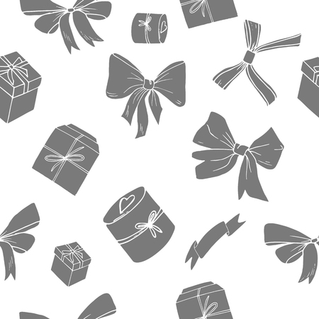 Grey bows and giftboxes on white background vector illutration. Seamless pattern. Paper, textile design, banner, web. Offer, sale. Boxing day, valentine's celebration. New year, Christmas, women day.