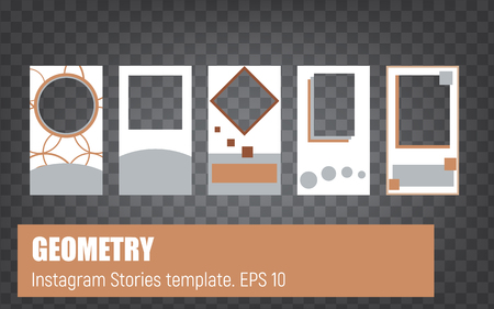 Template for insagram stories. Minimalistic, geometry, shape. Beige, blue, white. Square, rectangular, circle.Vector set. Social media, mobile, blog, abstract, modern, trend, concept, style. Illusztráció