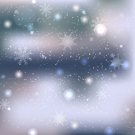 Snowflakes on blue background. Mesh, blur. Winter, cold, snow, window, cold, cosy, home.  Template for text, banner. Abstract design.