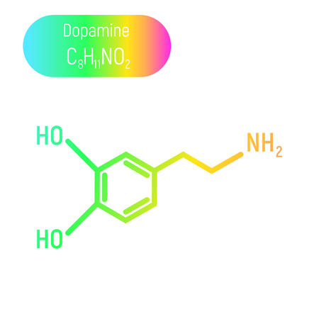 Neon gradient dopamine molecula on white background. Chemical, formula, structure, science, medicine. Emotion, feeling, love, happyness, enjoy, pleasant. Bright, colorful, rainbow.