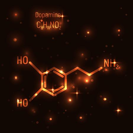 Dopamine gold molecule vector illustration. Luminiscence, shine, golden, dark background. Chemistry, chemical formula, laboratory, research, neurology. Emotion, enjoy, love, happiness, pleasant.