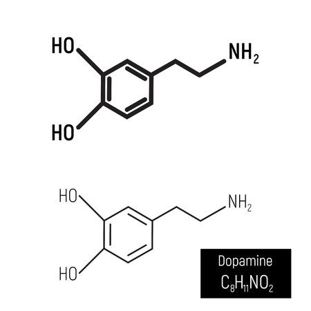 Black thin and thick line design, dopamine molecule vector illustration on white background. Minimalism, structure, chemistry, drug, hormone, neurotransmitter. Pleasure, happy, enjoy, love.