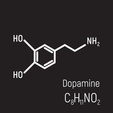White dopamine molecule on black background vector illustration. Design, concept, minimal, structure, line, atom. Emotion, happy, enjoy, love. Textile, banner, illustration. Happy, pleasant.