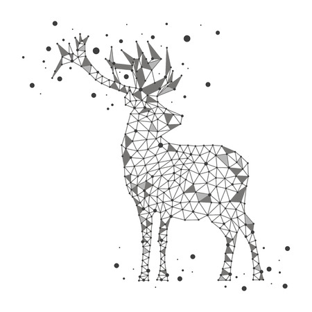 Low poly vector iluustration, grey deer with dots on white background. Abstract concept, design, polygon, triangle, siluhette. Animal, forest, snow, winter, Christmas, new year. Modern.