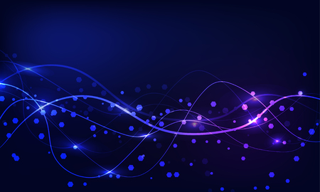 Abstract blue background with curves and hexagons, thin line, wave, curve, vibrant color, sparkle, energy. Design, concept.