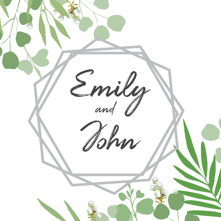 Green leaves, foliage and geometry frame, template for text on white background. White buds. Rustic, garden, floral, greenery. Wedding card, invitation, save the date. Vector illustration.