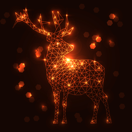 Abstract polygonal deer with shining lamps effect, golden lines. Low poly design, hexagon, geometry. Animal, concept, style, modern. Christmas, winter, new year. Wild, scandinavian, cosy.