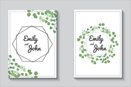 Template, wedding invitation, cards with eucalypthus branches and leaves on white background.Greenery, rustic, herbal, minimalisti c design.