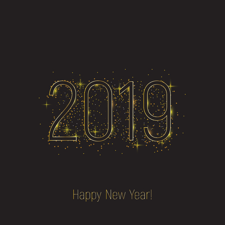 2019 happy new year template. Black text with shining golden glitter on black bckgroind. Star, shine, luminosity, gold, luxury.