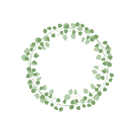 Minimalistic greenery eucalypthus wreath vector illustration. Greenery, tree, leaf, foliage, tree, branch. Frame, circle, template for text. Greeting card, invitation.