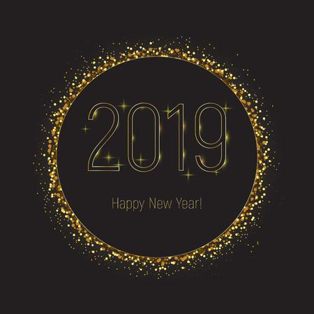 2019 happy new year greeting card, black circle with gold glitter border  on black background. Golden, shining, celebration, party. Banner, broshure. Illusztráció