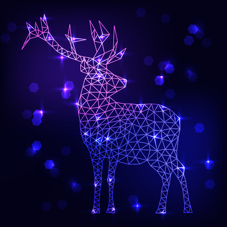 Abstract polygonal deer on dark blue background vector illustration. Winter, snow, night, ster, sky. Geometry, low poly, triangle, hexagon.