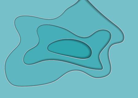 Abstract blue cut paper background, vector illustration. Template for banner, text, broshure. Water, drop, tear, sea, ocean, lake. Illusztráció