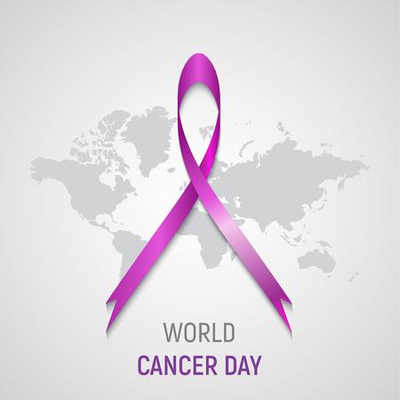 Pink ribbon on grey world map background. World cancer day emblem, symbol, label, sign. Violet silk, satin. Health, medicine, disease.