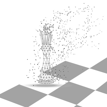 Chess king polygonal figure, low poly vector. Thin lines, triangles and dots, geometry abstract concept. Play, game, win, lose, business, politics.