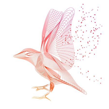 Vector lines flying bird abstract illustration. Gradient, line, dots, minimalism. Shape, siluhette. Logotype, emblem, label. Animal, wildelife, flying.