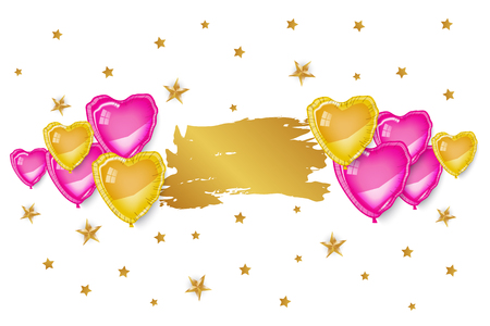 Gold and pink 3d heart baloons, golden stars on white background. Gold brush shape, template for text, greeting card, banner, poster. Girl, teen, fashion, style, cute. love, romance, gloss, shine.