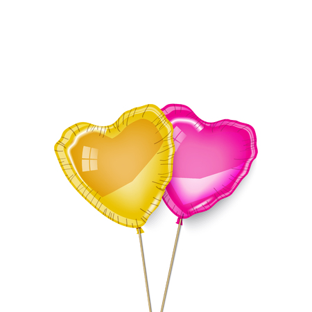 Pink and gold rubber baloons in white background. Vector illustration. Two, couple, he and she, family, friends. Love, surprise. Greeting card, poster, banner. Minimalistic design.