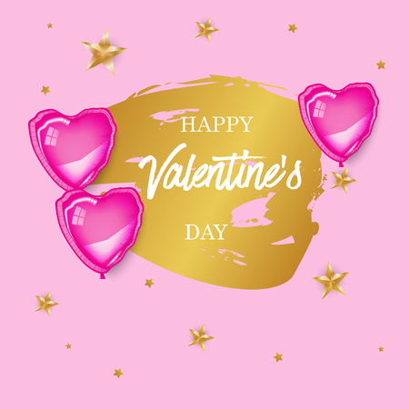 Vector illustration, golden brush background, pink baloons, gold stars. Greeting card, text template, invitation, sale, banner.Foil, gloss, shine. Love, romance, wedding, marriage, party. Illusztráció