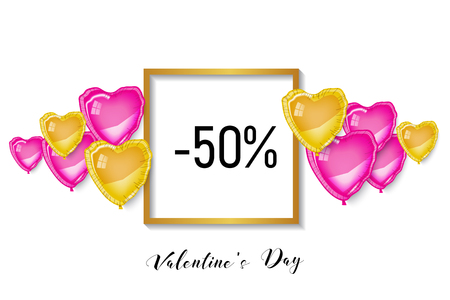 Happy Saint Valentine' day sale, shopping discount banner. Pink and gold 3d heart baloons and gold square frame on white background. Illusztráció