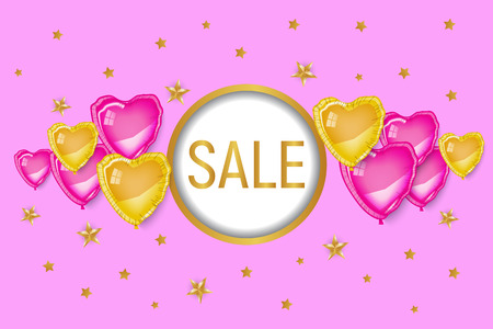 Valentine's day shopping discount banner, pink and gold 3d heart baloons on pink background. Round circle frame for text. Golden stars. Love, romance, cute, girl, woman. Greeting card, poster, label