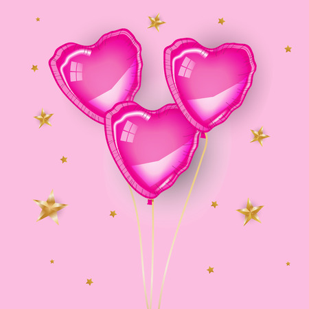 Three pink heart baloons flying on pink background, Gold stars. Valentine's day, greeting card, banner, poster, flyer. Love, romantic, sweet, girl, happy. Illusztráció
