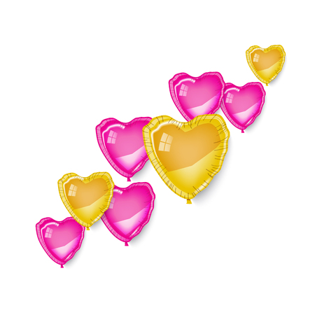 Diagonal pink, gold heart baloons on white background, vector illustration. Greting card, banner, poster, border. Love, fly, romance, marriage, birthday, surprise, valentine's day. Illusztráció