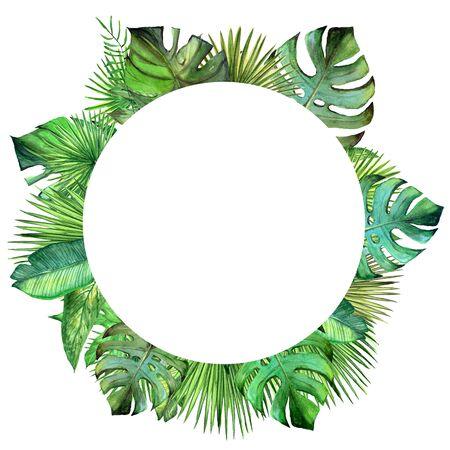 Watercolor plant leaves circle frame.