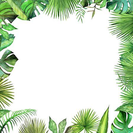 Watercolor tropical plant leaves square frame. Stock fotó