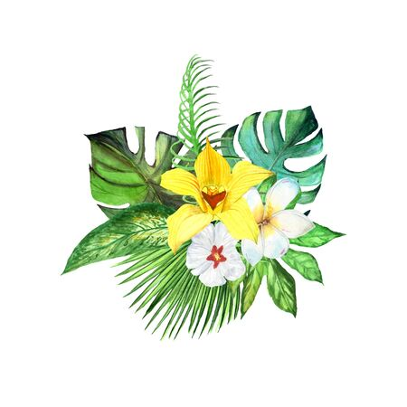 Watercolor tropical plant leaves and exotic plumeria and orchid