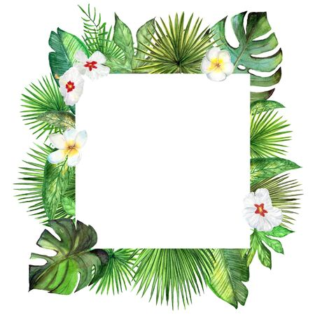 Watercolor tropical plant leaves and exotic flowers square frame, border, template. Stock fotó