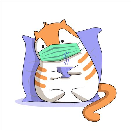 Ill cat in a mask with a cup of hot tea.